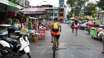Cycling on Khao San Road, Banglamphu, Bangkok