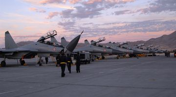 Indian Air Force maintainers prepare their Sukhoi Su-30MKI (NATO reporting name: