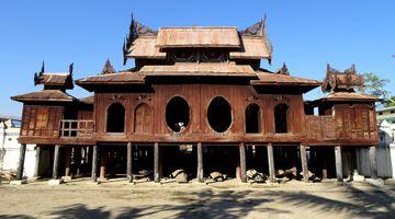 Shwe Yan Pyay teak monastery in Nyaungshwe, Myanmar